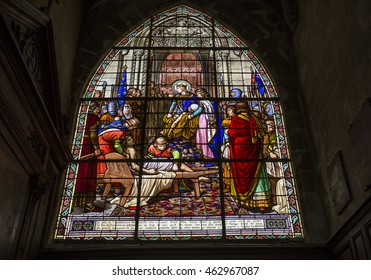 COMPIEGNE, FRANCE, JULY 16, 2016 : stained glass and  details of saint Jacques church, july 16, 2016 in Compiegne, Oise, France