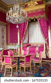 COMPIEGNE, FRANCE - NOVEMBER 3: Napoleon Bonaparte's bed room in the imperial palace on November 3, 2013 in Compiegne, France.  Napoleon was Emperor of France from 1804 to 1815.