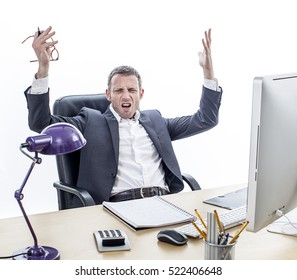 complaining middle aged businessman sitting at his office, raising annoyed hands for exasperation, misunderstanding and frustration, isolated, white background