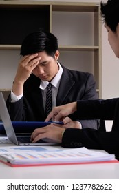 Complaint business, Businessman working with meeting room and bad motion.