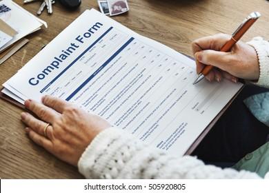 Complaint Form Documents Content Concept