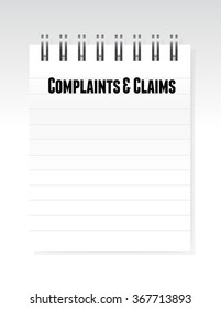 complaints and claims sign notepad illustration design graphic