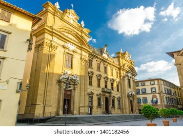 Complesso di San Firenze Chiesa San Filippo Neri catholic church on Piazza di San Firenze square in historical centre of Florence city, blue sky white clouds, Tuscany, Italy