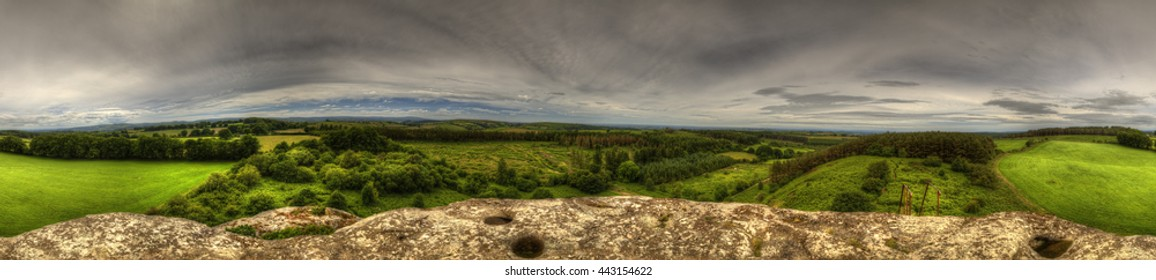 Complete 360 Panorama image suitable for 360 VR of the view from blackstone rock by Moretonhampstead, which is a small tor