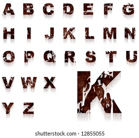 Complete alphabet with rusty and grungy letters