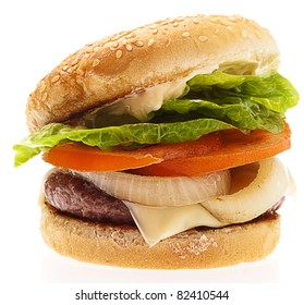 complete burger isolated on a white background