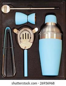 Complete cocktail set for bartender in blue
