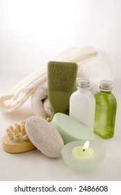 Complete collection of materials for spa, bath, shower