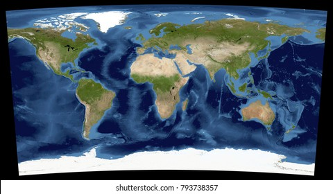 Complete earth view space high resolution stock illustration complete earth view from space high resolution world map illustration in cartographic projection data gumiabroncs Gallery