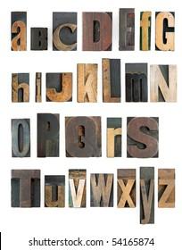 complete letterpress high resolution alphabet with wooden blocks