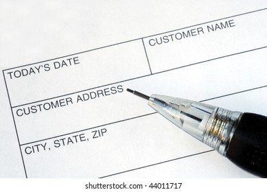 Complete the name and address for the customer