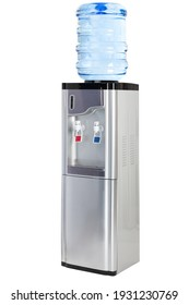 complete photo of silver electric purified water dispenser with hot and cold water with refrigerator included on a white background, concept of objects and health.