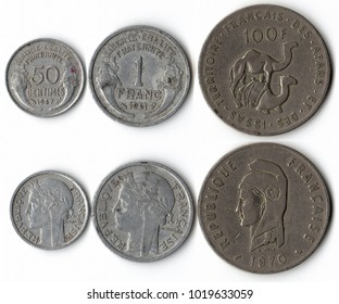 A complete set of coins on white background isolated Collage