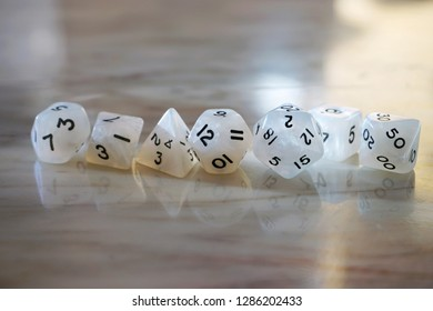 A complete set of pearly dice for d20 role playing systems