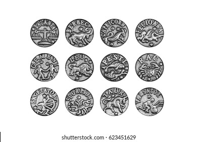 Complete set of the twelve zodiac signs charms in Romanian, isolated on white background, clipping path included
