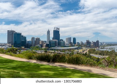 Complete skyline of Perth seen from Kingspark including Elizabeth Quay Western Australia