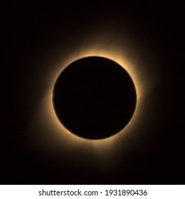 A complete solar eclipse of the sun.