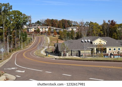 Complete Street with apartments in Oxford Mississippi in fall