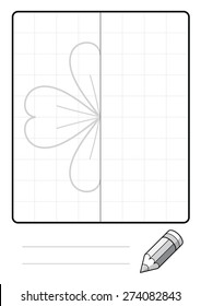 Complete the Symmetrical Drawing: Four Leaf Clover (single page drawing task)