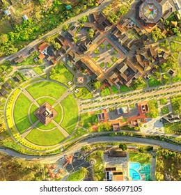 Complete View Of The Center Of The World Or Ciudad Mitad Del Mundo In Quito Very Popular Touristic Destination In Ecuador Capital, Drone Aerial Image