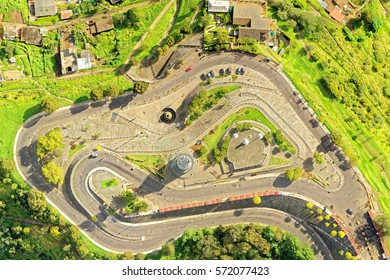 Complete View Of The Panecillo Statue And Park In Quito Very Popular Touristic Destination In Ecuador Capital Drone Aerial Images