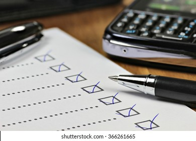 completed checklist in office