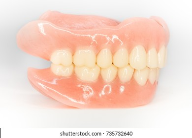 completed denture from side view