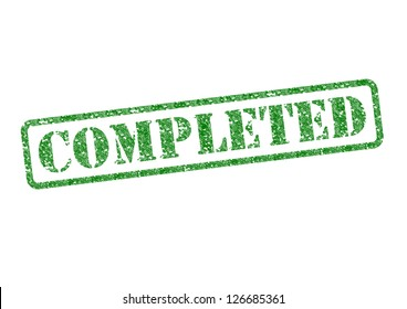 'COMPLETED' green rubber stamp over a white background.