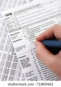 Completing 1040 tax form