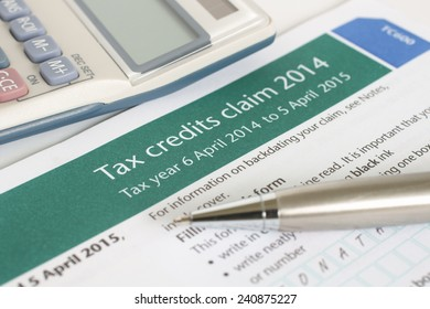 Completing a British working tax credit application form (TC600) concept