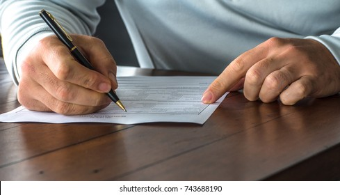 Completing a medical form