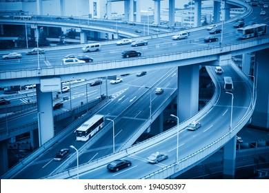 complex approach bridge closeup and vehicles motion blur in shanghai