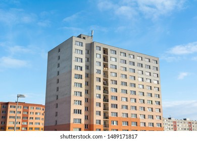 Complex of blocks of flats - residential building and house. Architecture from socialist era in Eastern Europe.