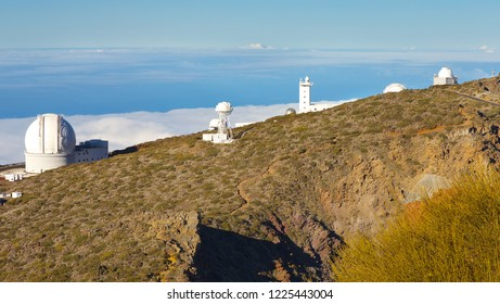 Complex of buildings of an Astronomical Observatory in Caldera de Taburiente, La Palma´s Island, Canary Islands, Spain