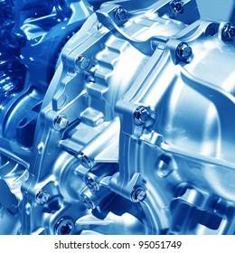 Complex engine of modern car interior view