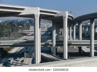 A complex freeway interchange of highways and overpasses in Los Angeles, California