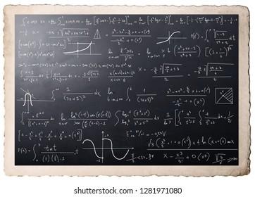 Complex mathematical calculations on blackboard
