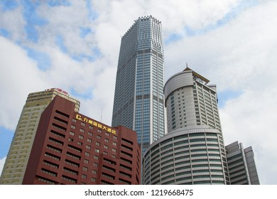 complex of modern high-rise buildings against the sky. modern skyscraper in Chinese city Dalian. Travel in China. Dalian, China - august 12, 2018