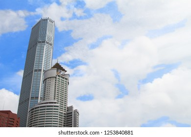 complex of modern high-rise buildings against the sky. modern construction technologies. skyscrapers in Chinese city Dalian. Travel in China. Dalian, China - august 12, 2018