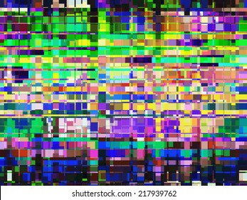 Complex mosaic abstract with urban nocturnal architectural motif