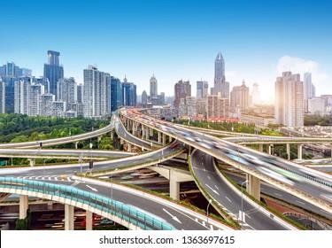 Complex multi-storey viaduct, Shanghai, China.