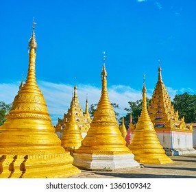 The complex of Nget Pyaw Taw Paya is fine example of traditional Burmese architecture of religious objects with wide variety of preserved stupas, Pindaya, Myanmar