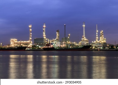 The complex oil refinery industry plant at the morning time in Thailand