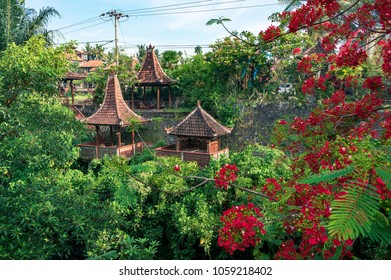 Complex of pavilions constructed in traditional balinese architectural style, Bali, Indonesia