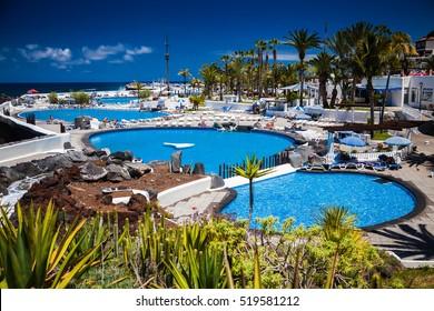 the complex of pools Lago Martianez in Puerto de la Cruz, Tenerife, Spain