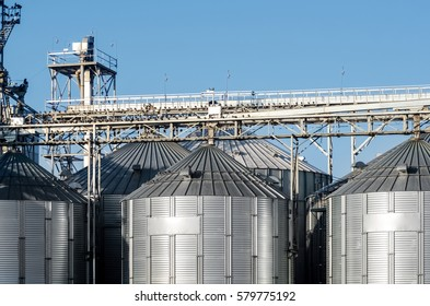 The complex silo installations for the storage of grain standing in the plowed