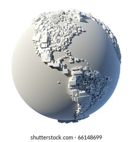 The complex structure of the Earth, consisting of a cubic rectangular shapes, the size of which depends on the height of the real terrain