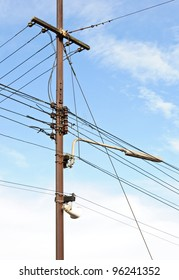 The complex of telegraph pole in the railway junction.