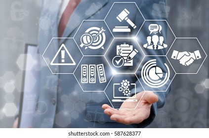 Compliance business concept. Businessman offer clipboard sign with check mark and pencil on virtual screen. Company strategy finance work support plan success technology