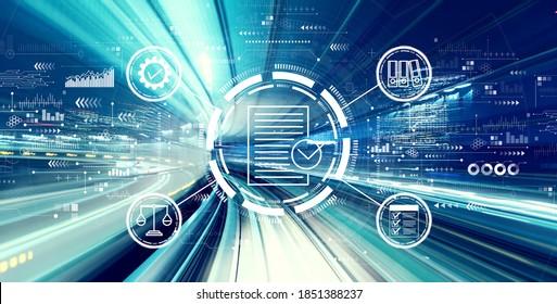 抽象的な高速テクノロジPOVのモーションブラーに関するコンプライアンスのコンセプト